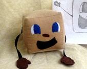 "Limited Quantity,Tiny Box Tim Plushie! Corduroy Plush Toy. 4"" cube, Pillow. Markiplier Youtuber."