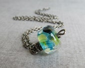 Blue Lampwork Necklace, Everyday Necklace, Green Boro Glass Pendant, Dark Sterling Silver Necklace