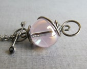 Pink Bubble Necklace, Pink Necklace, Wirewrapped Necklace, Convertible Necklace, Oxidized Sterling Necklace