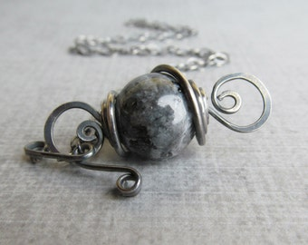 Sterling Silver Stone Necklace, Convertible Pendant Necklace, Oxidized Necklace, Dark Gray Necklace, Black Necklace, Blue Pearl Necklace
