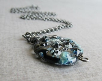 Blue Lampwork Necklace, Mottled Blue Necklace, Dark Pendant Necklace Blue, Oxidized Sterling Silver Necklace, Handmade Blue Glass Necklace
