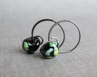 small black hoop earrings for or from gioiellijewelry small black hoops etsy