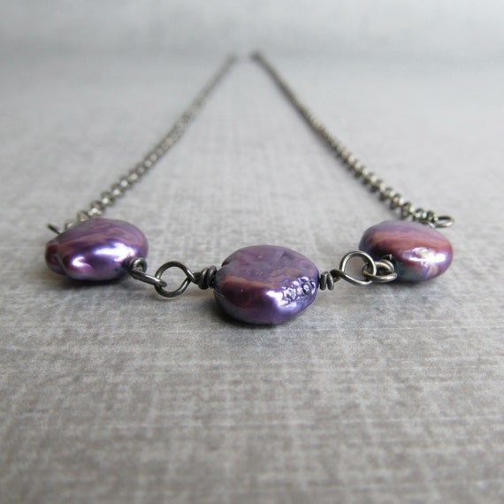 Purple Pearl Necklace, Grape Purple Necklace, Violet Necklace, Oxidized Sterling Silver Necklace