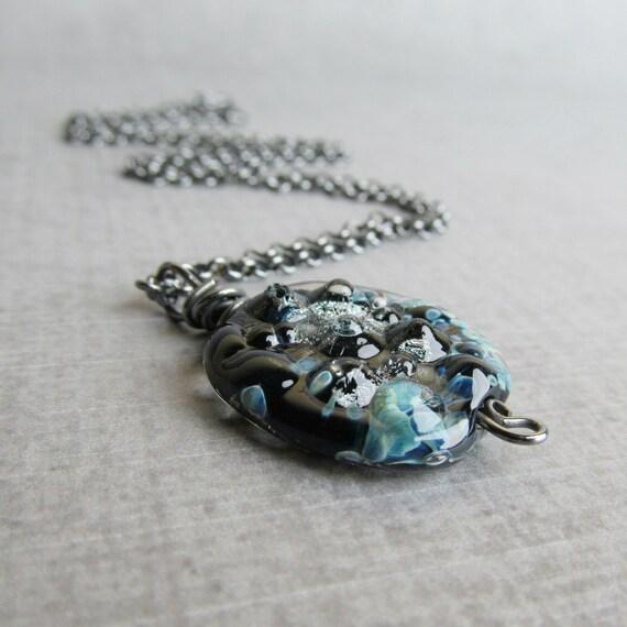 Blue Lampwork Necklace, Mottled Blue Necklace, Dark Pendant Necklace Blue, Oxidized Sterling Silver Necklace, Handmade Blue Glass Necklace
