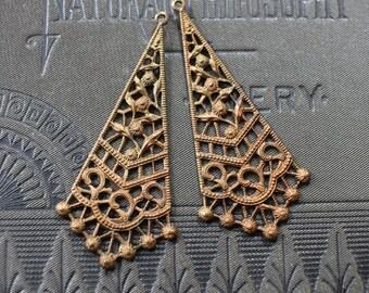 Oxidized Brass Art Deco Floral Filigree Chandelier Earring Findings