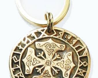 Viking Celtic Cross Rune Calendar Bronze Pendant - Celtic Cross Bronze Key Ring - Bronze Kiln-Fired Celtic Cross Rune Calendar GiftNecklace
