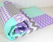 Baby Girl Blanket, Minky Blanket, Nursery Decor, Patchwork Blanket, Lavender, Purple, Plum, Gray, Mint Green, Seafoam, Chevron, Dots,Damask