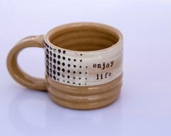 coffee mug wheel thrown stoneware unique coffee mug