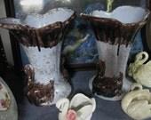 Vintage Blue Vase with Brown Drip and Brown Swans