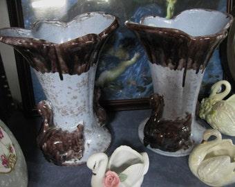 Swan Vase, Gonder Blue Swan Vase, Vintage Blue Vase with Brown Drip and Brown Swans, USA Swan Vases