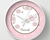 "Blossom Pink Trendy Bird Baby Girl Nursery 10"" Wall Clock, Choose frame color, clock hands, personalization"