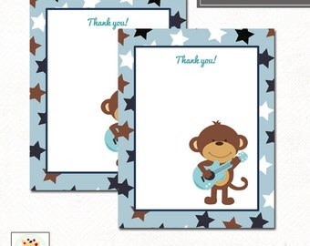Monkey Rockstar Guitar Flat Thank you notes, Print your Own JPG file or Printed Invitations