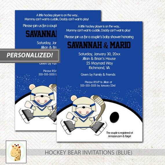 Polar Bear Hockey Sports Theme Boy Baby Shower Invitations