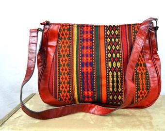 Vintage Woven Guatemalan Rainbow Fabric Woven Purse