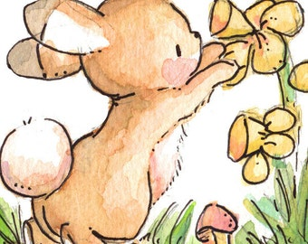 Children Art Print. Daffodils. 8X10. Nursery Art Home Decor
