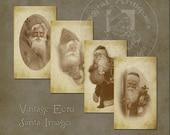 Images de Noël Vintage Santa écru sépia téléchargement numérique imprimable