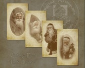 Vintage Christmas Santa Images Ecru Sepia Printable Digital Download