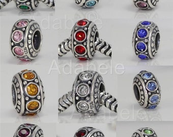 U Pick 1 x Sterling Silver Charm Sparkle Birthstone Bead For European charm bracelet