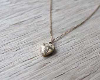 Vintage Locket, 12k Gold Filled, Vintage Heart Locket, Gold Heart Locket, 14k Gold Filled Chain, Baptism Locket, B.MFG.Co Locket