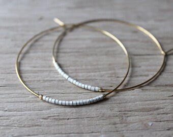 Silver Seed Bead Hoop Earrings, Large Gold Plated Earrings, Hoop Earrings, Gold Hoops, Also Available in Silver