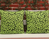 Chartreuse  green Jalapa Hand Embroidered Sham