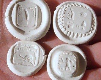 Rebus, Cherub, Toujours Sincere And Snail Toujours Chez Moi Resin Wax Seal Reproduction Impression Set 1