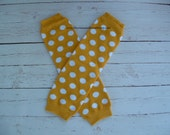 Baby Leg Warmers Yellow Gold with White Polka Dots Baby Girl Toddler