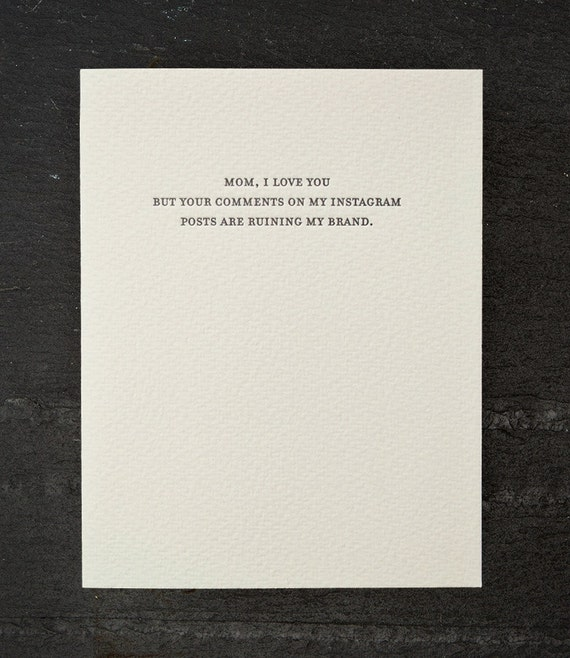 instagram comments. letterpress card. #792