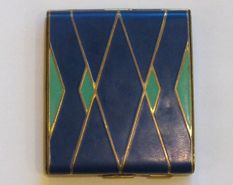 Vintage Blue & Green on Brass Art Deco Compact