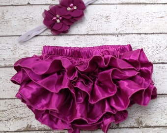 SET Chicaboo Raspberry magenta Satin ruffle baby bloomers & Heaband. Adorable photo prop for newborn-1 year. Ruffles are on the butt only.