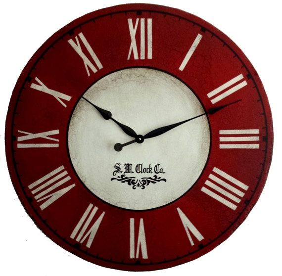 36 In Devonshire Large Wall Clock Antique Style Red By