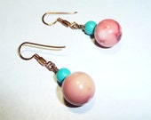 Coral Turquoise Copper Dangle Earrings on Etsy