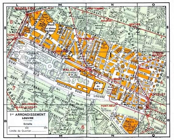 Paris Street Map Of 1st Arrondissement. Digital Download Of Vintage Map From The 1920s. Plan De