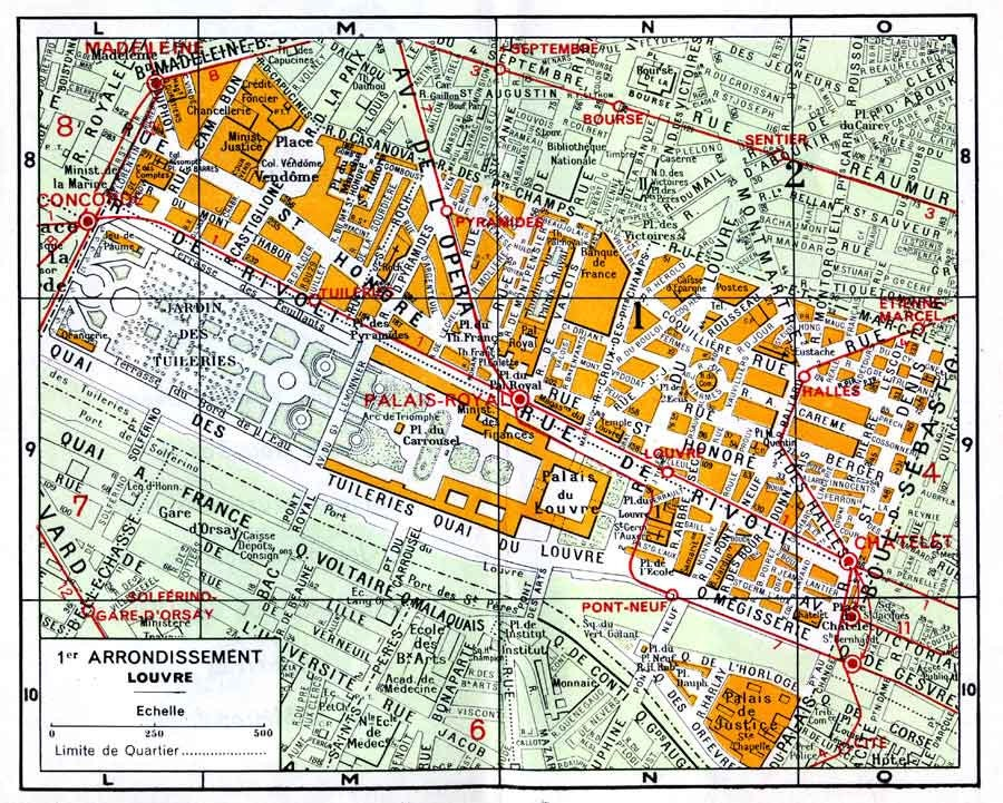 Paris street map of 1st arrondissement. Digital download
