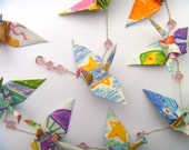 Hanging Origami Cranes for Kid's room - chain of 11 soft pink colorful recycled-upcycled-reclaimed-repurposed paper #c111 marlisa