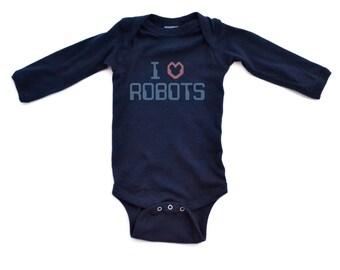 Silly I <3 Heart Love Robots Cute Comfy Cotton Baby Long Sleeve Nerdy Bodysuit Nerd Geek Humor Robotics Technology Lovers Fun Gift Idea