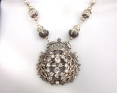 Bridal Statement Necklace, Vintage Rhinestone Crown Pendant with Crystals Wedding Jewelry