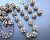 Vintage Rhinestone Necklace Rhinestone Ball beads with Dangle Earrings