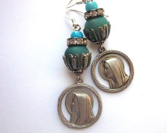 Religious Assemblage Dangle Earrings Vintage Medals Virgin Mary