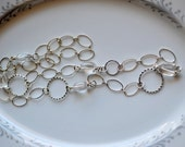 Rock crystal and silver circle chain necklace, long necklace, chain necklace, rock crystal jewelry