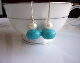 Turquoise and pearl dangle earrings, turquoise earrings, pearl earrings, pearl jewelry, turquoise jewelry