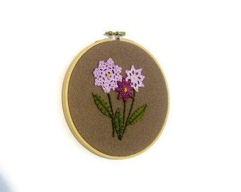 Embroidered  hoop art floral doilies appliques purple green brown wool felt