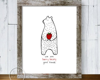 Berry Beary Valentine Illustration Print - Instant Download 8x10