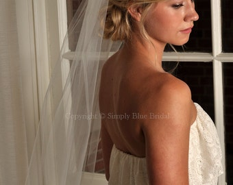 WHITE Bridal Veil - Elbow Length with Raw Cut Edge - READY to SHIP