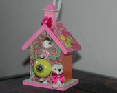 Buttons and Bows Pink and Green Mini Birdhouse, Miniature Decorative Bird House