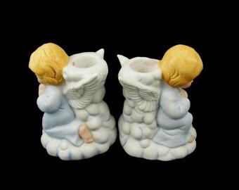 Angel Candle Holders Pair of Ceramic Angels Kneeling in Prayer
