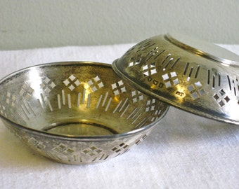 Pair of Vintage Sterling Silver Pierced Nut Cups, Hallmarked Little Silver Bowls, Bon Bon Small Mint Dish