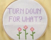 Turn Down For What Rap Cross Stitch flower hoop