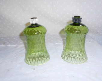 Green Glass Votive Candle Cup set of 2