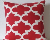 Red quatrefoil decorative pillow cover - Premier Prints Fynn Timberwolf Red - accent pillow cover